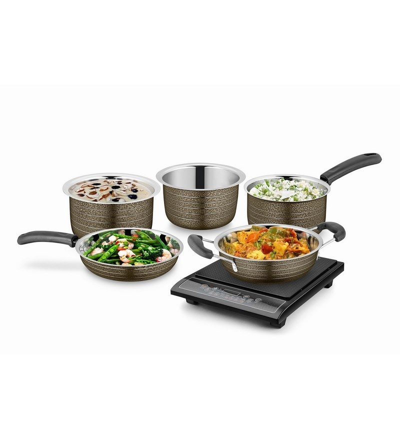 Brown Stainless Steel Cookware Set - Set of 5 by Ideale