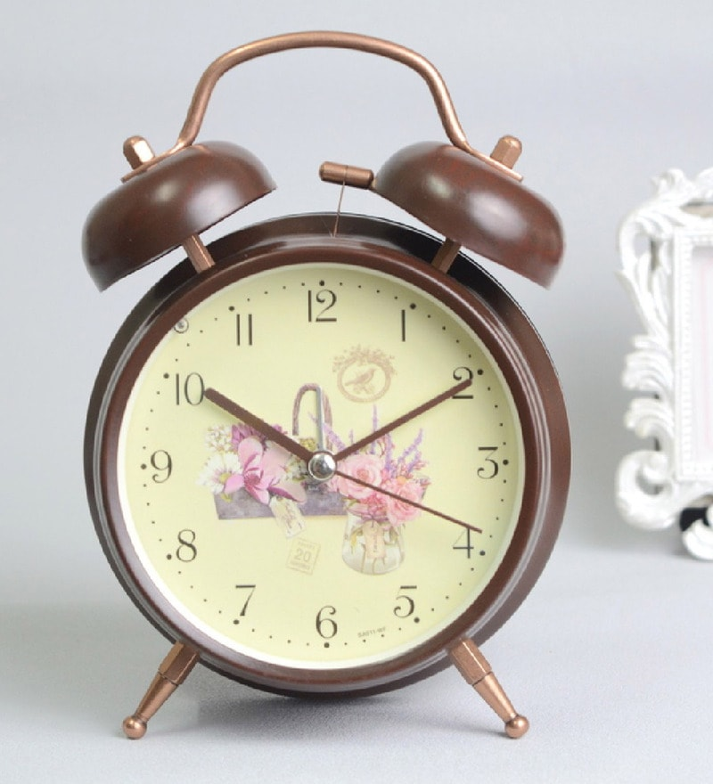 Brown Steel 5 x 2 x 6 Inch Floral Design Fashion Classic Rustic Alarm Clock by Nestroots