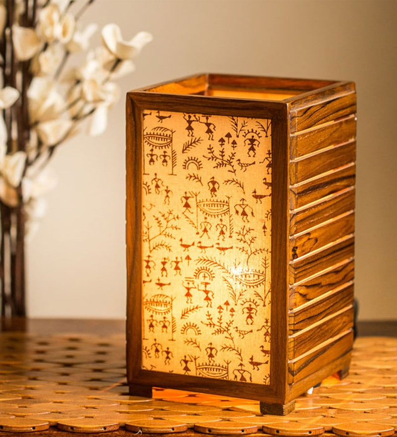 Brown Teak Wood Table Lamp by ExclusiveLane