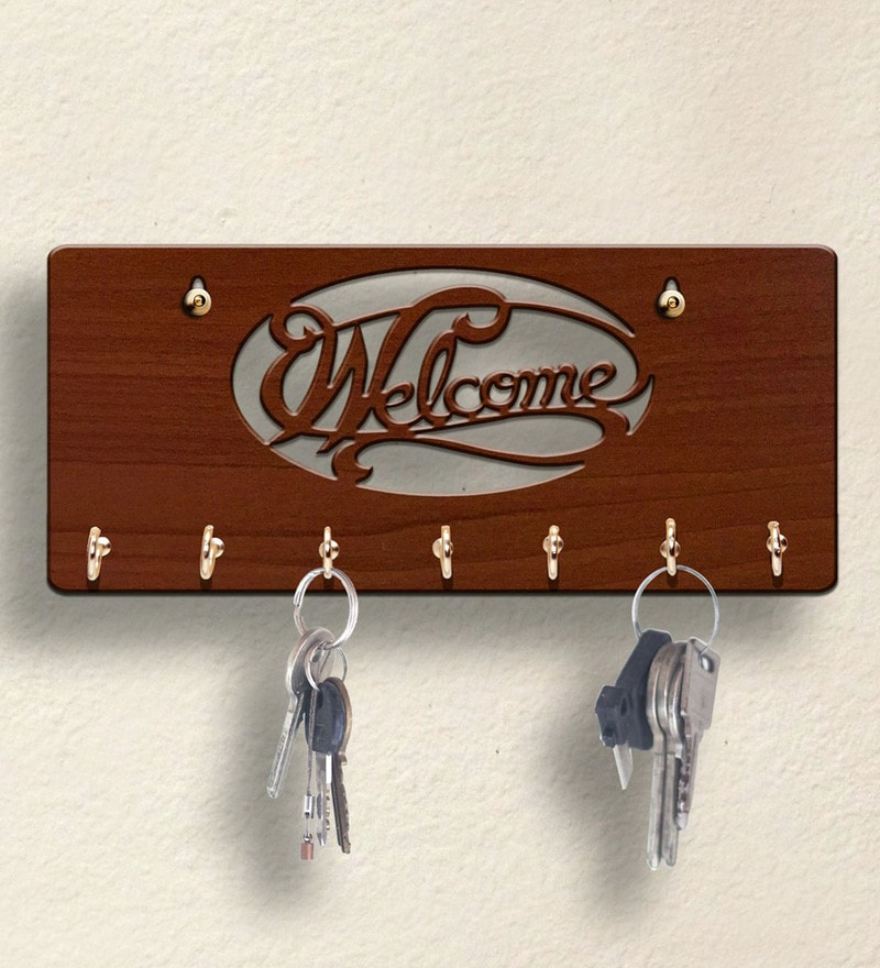 Brown Welcome Wooden 7 Hooks Key Holder by Sehaz Artworks