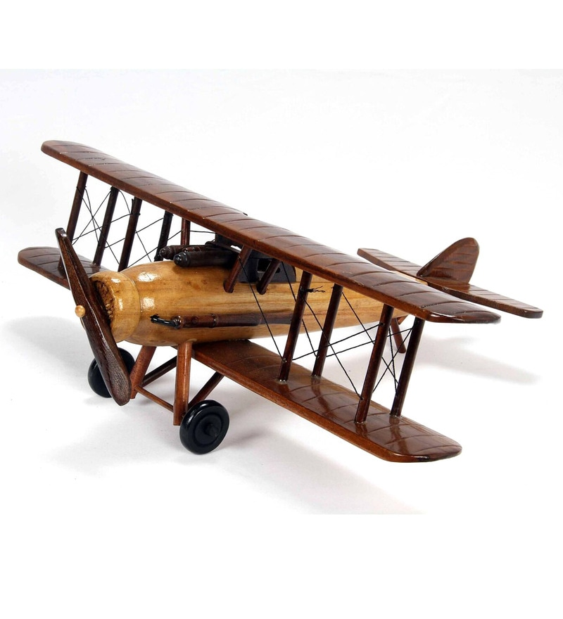 Brown Wood Airoplane Showpiece by V Decor
