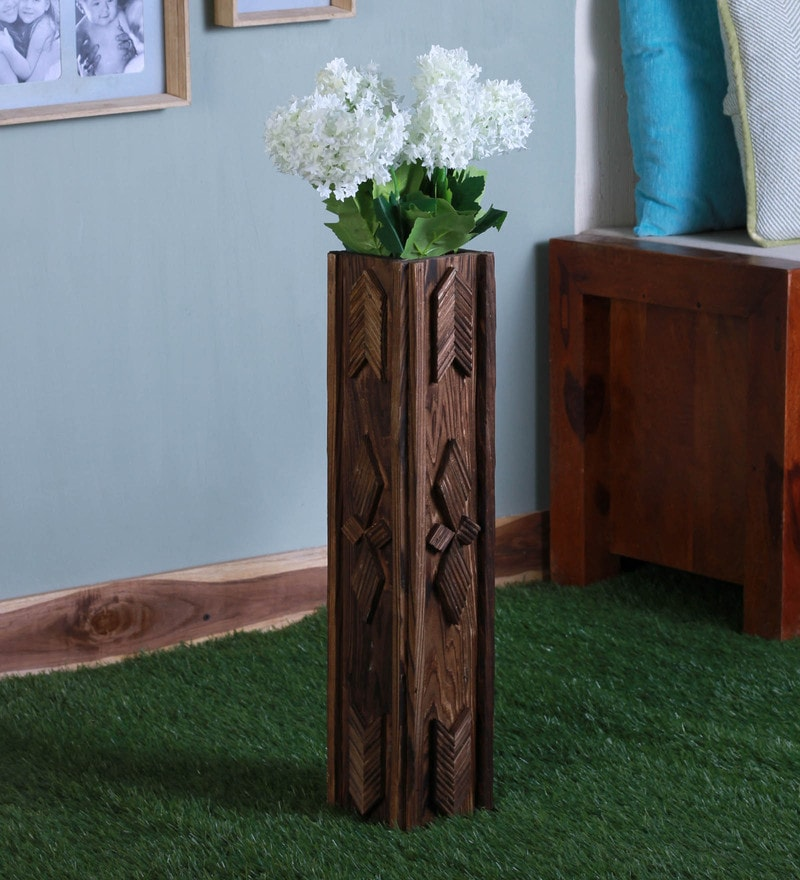 Brown Wood Pot by Fourwalls