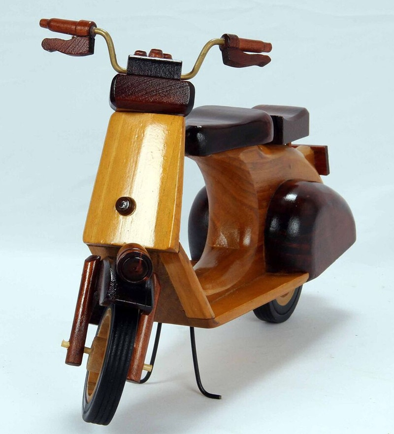 Brown Wood Scooter Showpiece by V Decor
