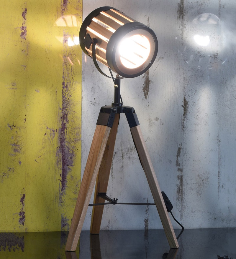 Brown Wood Table Tripod Spotlight Lamp by OddCroft
