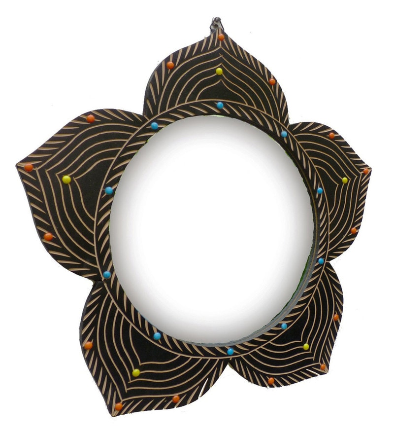 Brown Wooden Star Shape Carved Mirror by Shah Kreations