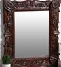 Brown Solidwood Decorative Mirror by Art of Jodhpur