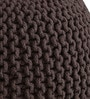 Brownie Knitted Cotton Pouffe in Brown Colour by Purplewood