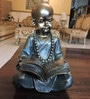 Bronze & Dark Green Polyresin Reading Cute Baby Monk Figurine by Browse House