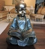 Bronze & Dark Green Polyresin Reading Small Baby Monk Figurine by Browse House