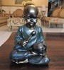 Bronze & Dark Green Polyresin Small Baby Monk Figurine by Browse House