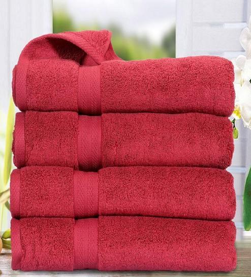 Burgundy Cotton 100 Cotton Paradiso Bath Towel Set Of 4 By Bianca