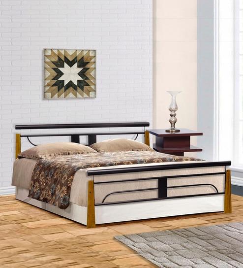 Burlington Metallic Queen Size Bed in Black Colour by FurnitureKraft & Buy Burlington Metallic Queen Size Bed in Black Colour by ...