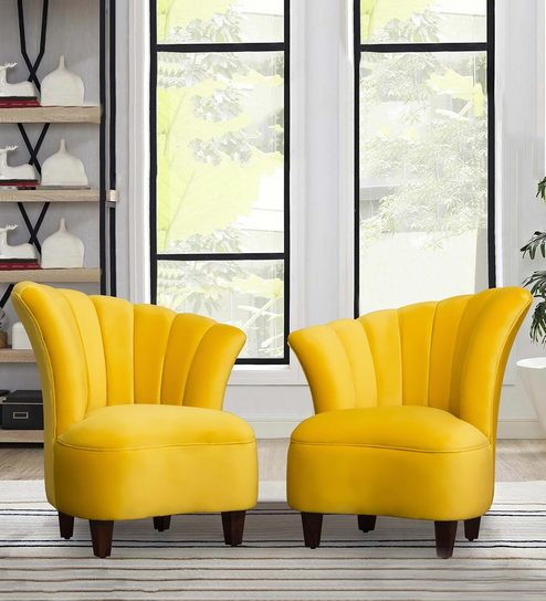 Swell Butterfly Barrel Chair In Yellow Colour Set Of 2 By Peachtree Machost Co Dining Chair Design Ideas Machostcouk