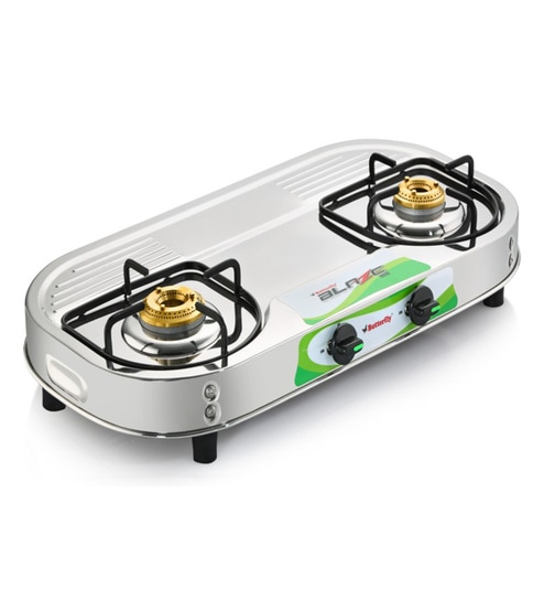 3f1b1f0f6 Butterfly 2 Brass Burners Manual Stainless steel Gas Stove (Model No  Blaze  2 Burner)