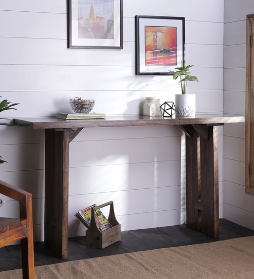 Butterfly Joinery Console Table In Brown Finish By Asian Arts