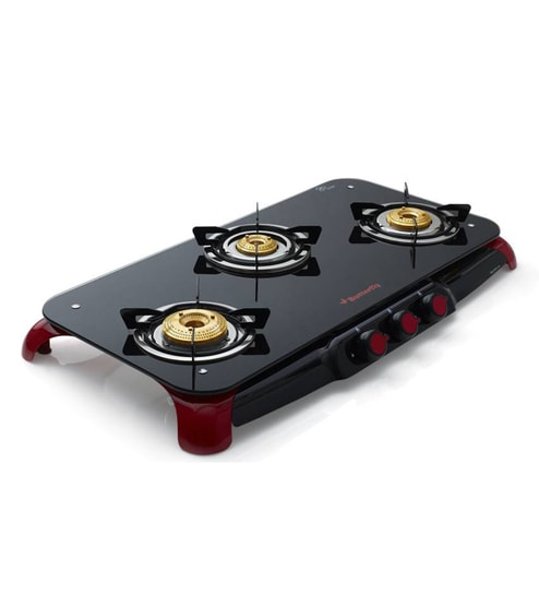 d2f2a6efc Buy Butterfly Red Signature 3 Burner Glass Top Stove Online - Gas ...