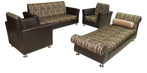 Merveilleux Eartigo Sofa Set (3 + 1 + 1) With Diwan In Brown Colour By