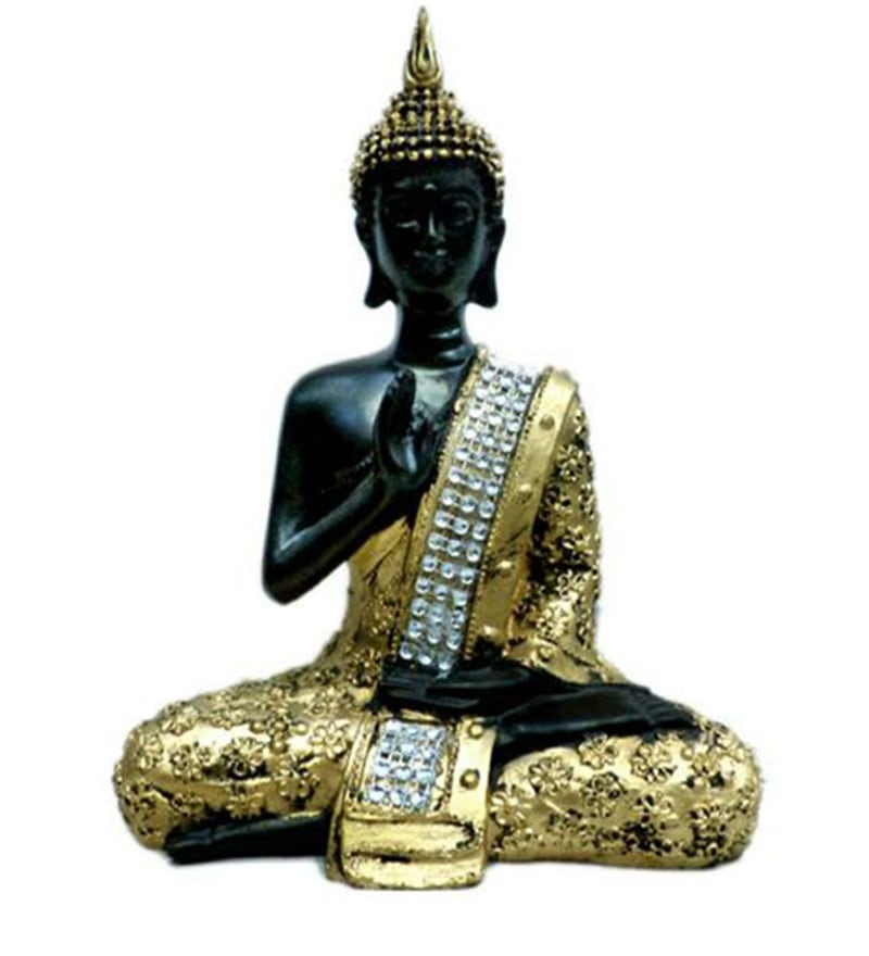Praying Buddha in Black & Gold by Zoe Crafts