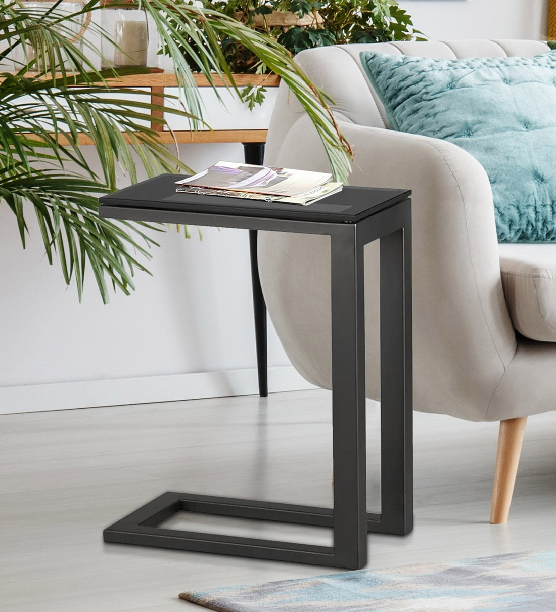 Buy C Shape Side Table With Black Glass Top By Asian Arts Online Contemporary End Tables Tables Furniture Pepperfry Product