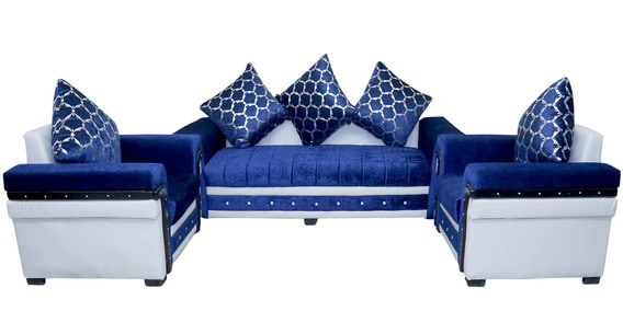 C Style 3 1 Seater Sofa Set In Blue White