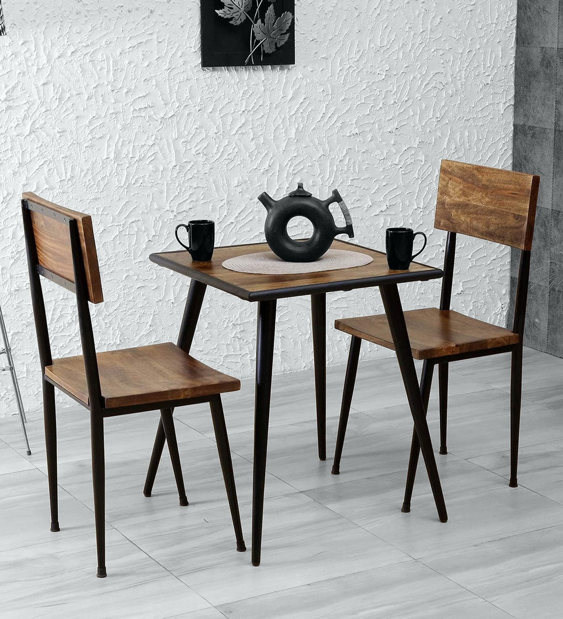 Buy Cafelectic Table Set With 2 Chairs In Provincial Teak Black Frame Bohemiana By Pepperfry Online Industrial 2 Seater Dining Sets Dining Furniture Pepperfry Product