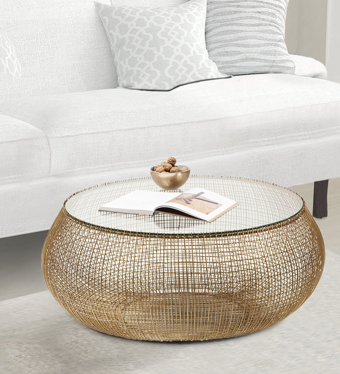 Buy Cannes Round Round Coffee Table In Golden Finish By Trendy Deco Online Round Coffee Tables Tables Furniture Pepperfry Product