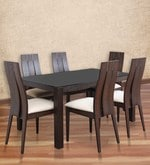 Carlton Black Glass Top Six Seater Dining Set in Wenge Finish