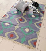 Blue & Green Cotton 72 x 48 Inch Area Rug