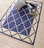 Blue & Ivory Cotton 72 x 49 Inch Lattice Design Flatweave Area Rug