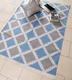 Blue Viscose 71 x 50 Inch Kilim Design Flatweave Area Rug