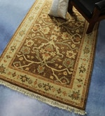 Brown & Green Wool 71 x 48 Inch Persian Design Hand Knotted Area Rug