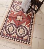 Brown & Rust Cotton 48 x 30 Inch Kilim Design Flatweave Area Rug