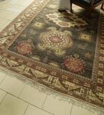 Charcoal Wool 121 x 94 Inch Kilim Design Hand Knotted Area Rug