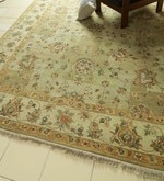 Green & Beige Wool 123 x 95 Inch Persian Design Hand Knotted Area Rug