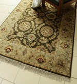 Olive Wool 96 x 60 Inch Persian Design Hand Knotted Area Rug