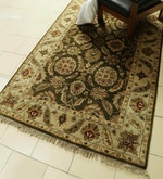 Olive Wool 98 x 59 Inch Persian Design Hand Knotted Area Rug