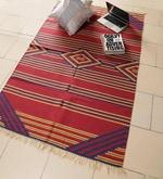 Carpet Overseas Red & Blue Cotton 72 x 46 Inch Kilim Design Flatweave Area Rug