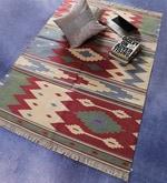 Red & Green Cotton 72 x 48 Inch Geometrical Design Flatweave Area Rug
