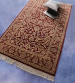 Red Wool 74 x 47 Inch Persian Design Hand Knotted Area Rug