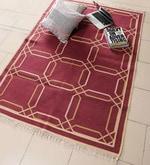Rust Cotton 71 x 48 Inch Lattice Design Flatweave Area Rug