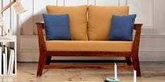 Canvas Two Seater Sofa in Mustard Colour