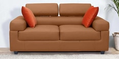 Carelino Two Seater Sofa with Headrest in Dark Almond Colour