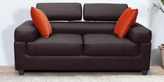 Carelino Two Seater Sofa with Headrest in Dark Brown Colour