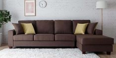 Castilla LHS Three Seater Sofa with Lounger and Throw Cushions in Brown Colour