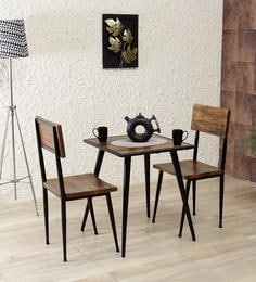 Cafelectic Table Set With 2 Chairs In Provincial Teak & Black Frame