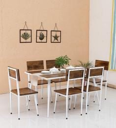 Cafelectic Table Set With 6 Chairs In Provincial Teak & White Frame