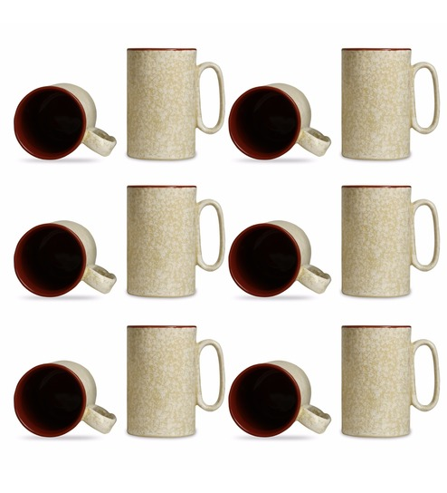 Of Ml Caffeine Handmade Brown Mugs Set 12 Crackle Creamamp; 350 Coffee Stoneware Regular qUMVpzS