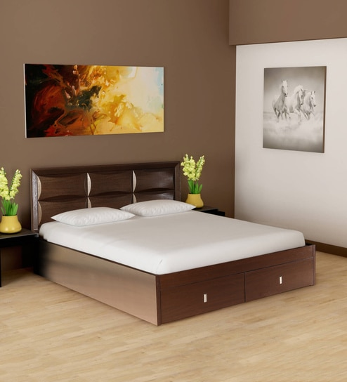 Buy Cambry King Size Bed With Hydraulic Storage In Walnut Finish By