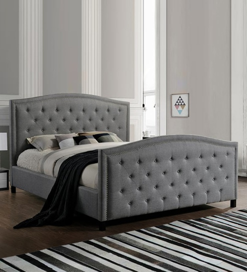Fine Camden Queen Size Upholstered Bed In Grey Colour By Afydecor Home Interior And Landscaping Mentranervesignezvosmurscom