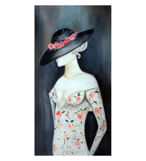 3b80a881156 Buy Canvas 20 x 0.2 x 40 Inch Lady in Black Hat Unframed Handpainted Art  Painting by Fizdi Art Store Online - Abstract Paintings - Abstract  Paintings - Wall ...